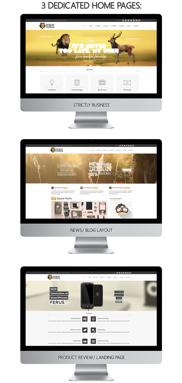 homepages - Ferus - Clean Responsive Multipurpose Joomla Theme