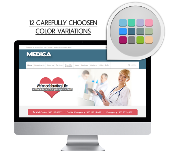 colors - Medica - Clean, Responsive, Medical Joomla Theme