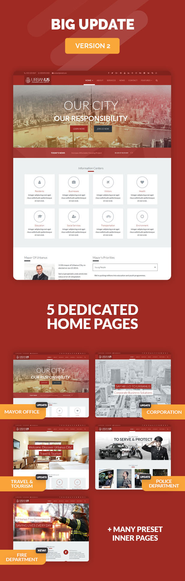 Urbanus - Responsive Government Joomla Template - 1